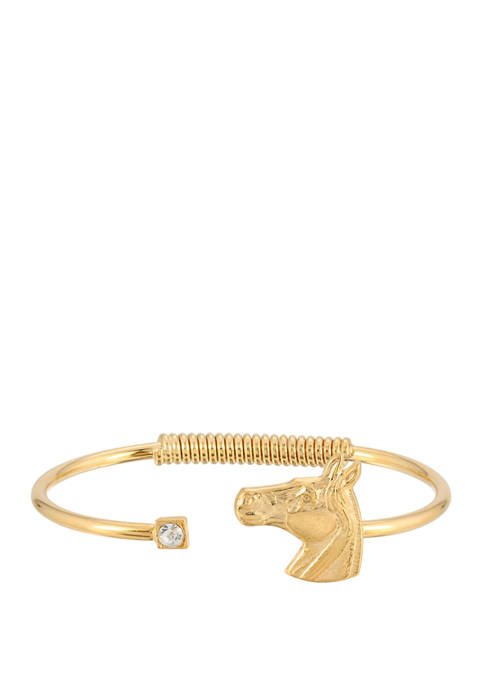 1928 Jewelry 14k Gold-Dipped Clear Crystal and Horse