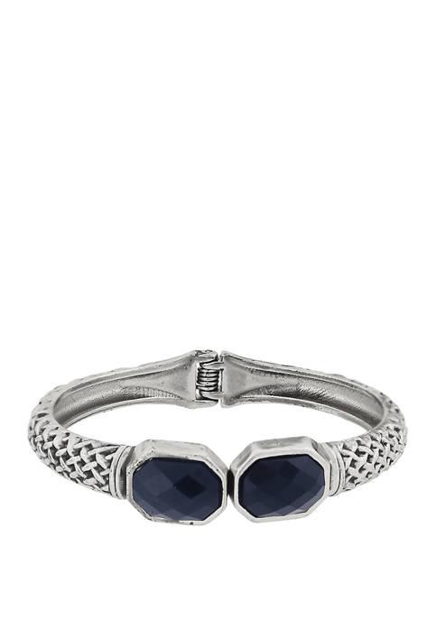 1928 Jewelry Silver Tone Blue Textured Cuff Bracelet