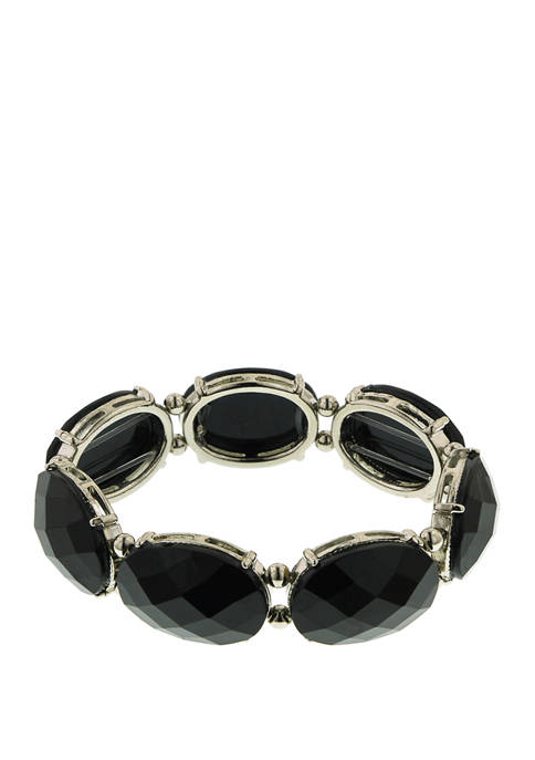 1928 Jewelry Silver Tone Black Stretch Bracelet