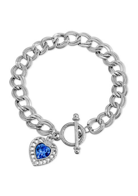 1928 Jewelry Silver Tone Sapphire Swarovski Elements Heart