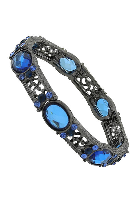 1928 Jewelry Black Tone Blue Filigree Stretch Bracelet