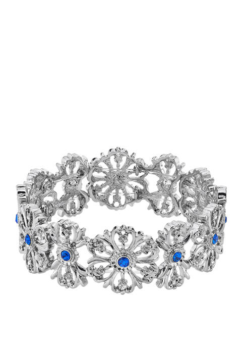 1928 Jewelry Silver Tone Blue Flower Stretch Bracelet