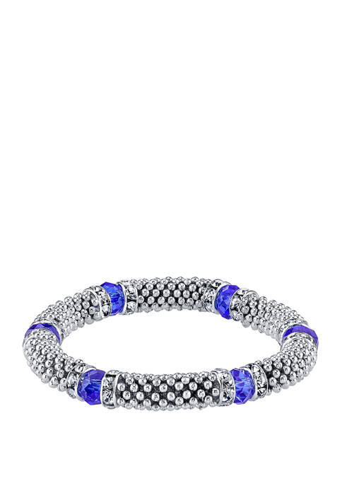1928 Jewelry Silver Tone Blue with Crystal Accent