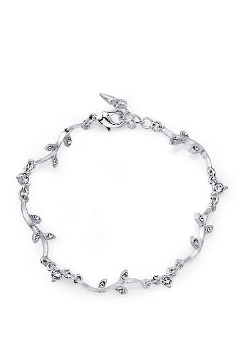 1928 Jewelry Silver Tone Crystal Vine Bracelet