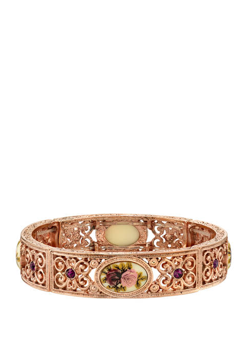 1928 Jewelry Rose Gold Tone Flower Stretch Bracelet