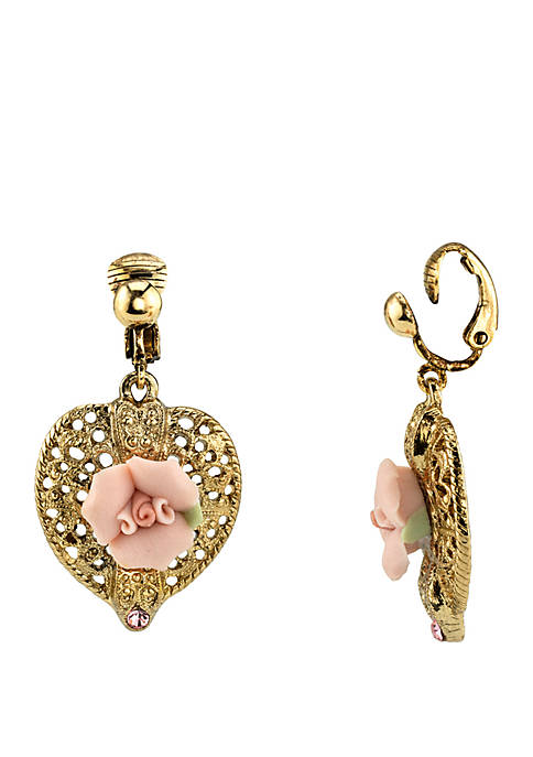 1928 Jewelry Gold Tone Pink Crystal Rose Heart