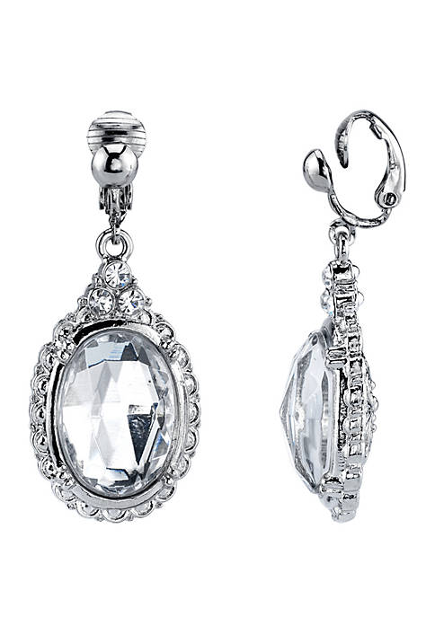 1928 Jewelry Silver Tone Crystal Oval Drop Clip
