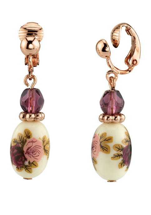 1928 Jewelry Rose Gold Tone Purple Crystal Bead