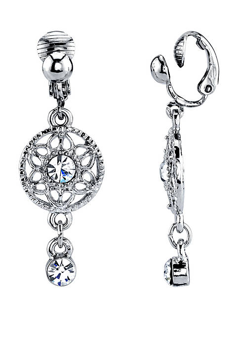 Silver Tone Crystal Drop Clip Earrings