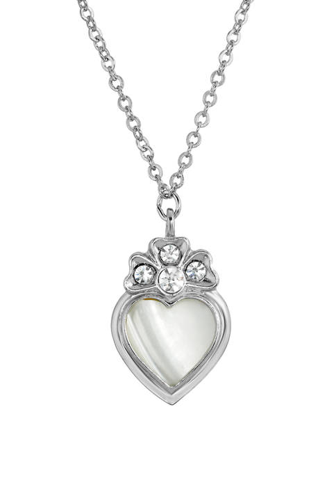 16 Inch Adjustable Silver Tone Crystal Genuine Mother of Pearl Heart Necklace