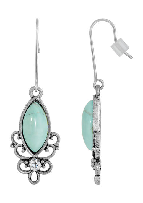 1928 Jewelry Sterling Silver Wire Genuine Stone Turquoise