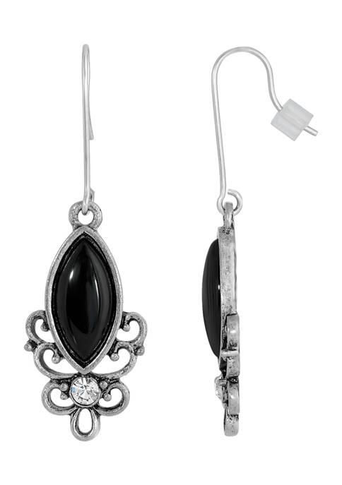 1928 Jewelry Sterling Silver Wire Genuine Stone Black