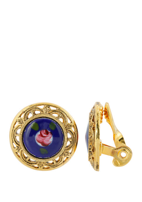 1928 Jewelry Gold Tone Blue with Pink Flower