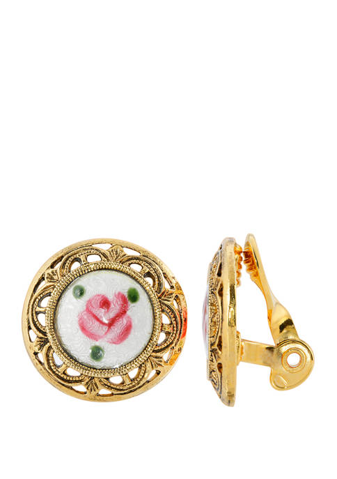Gold Tone White with Pink Flower Decal Stone Round Clip Earrings