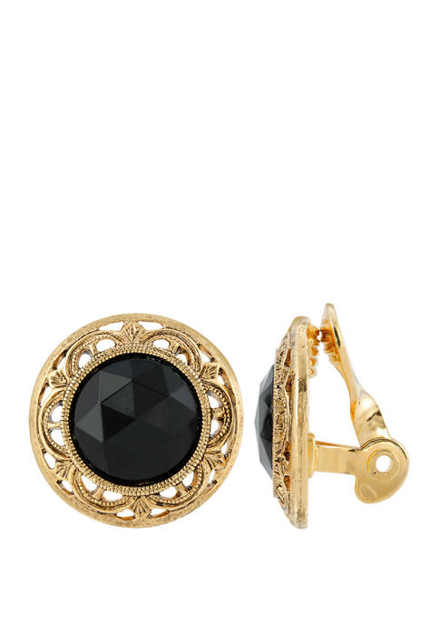 1928 Jewelry Gold Tone Round Black Faceted Stone