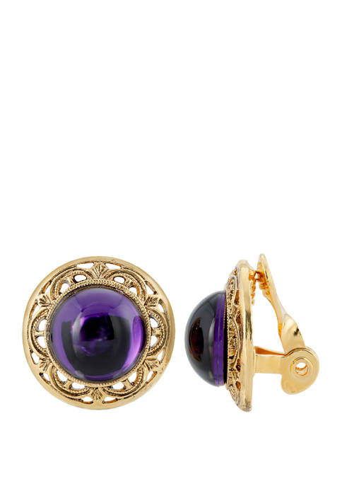 1928 Jewelry Gold Tone Purple Stone Round Button