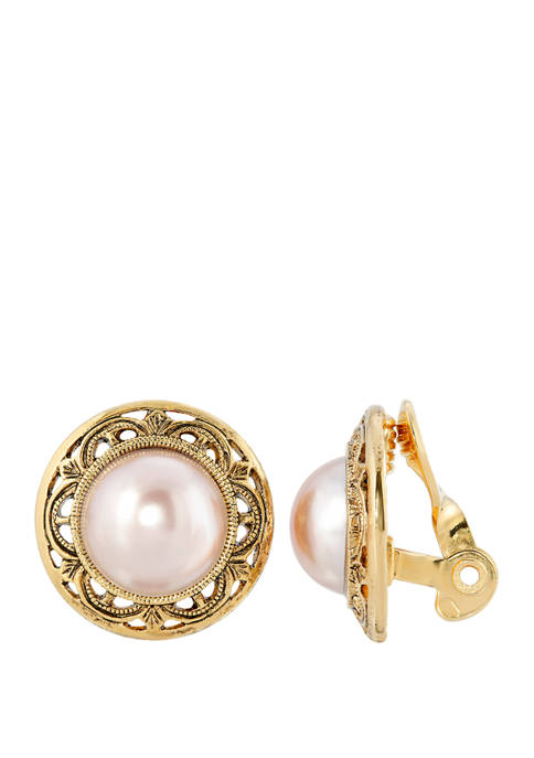 1928 Jewelry Gold Tone Faux Pink Color Pearl