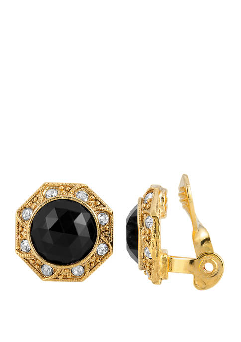 1928 Jewelry Gold Tone Black Faceted Crystal Round