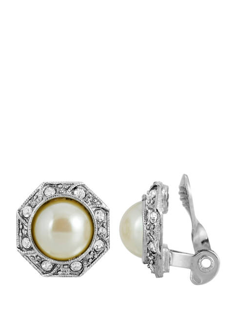 Silver Tone Faux Pearl Crystal Round Button Clip Earrings