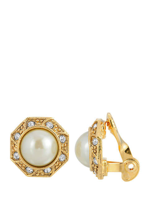 1928 Jewelry Gold Tone Faux Pearl Crystal Round