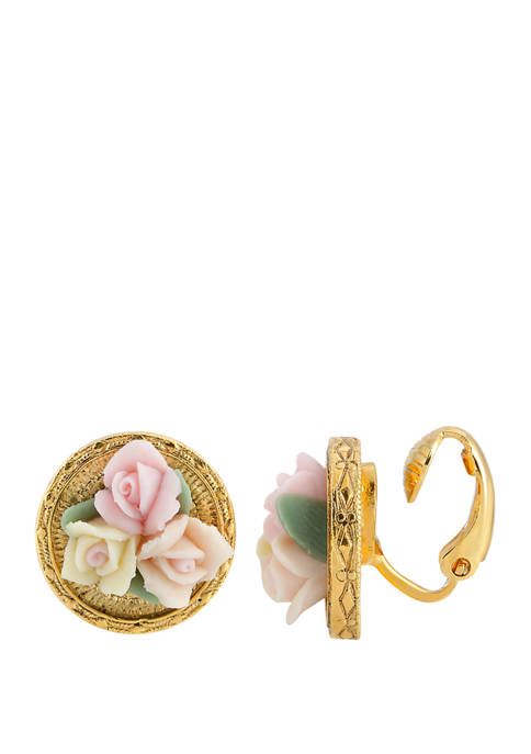 1928 Jewelry Gold Tone 3 Flower Pink and