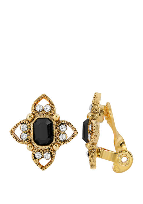 1928 Jewelry Gold Tone Black Rectangle Crystal Floral
