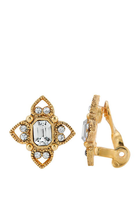 Gold Tone Clear Crystal Rectangle Crystal Floral Clip Earrings
