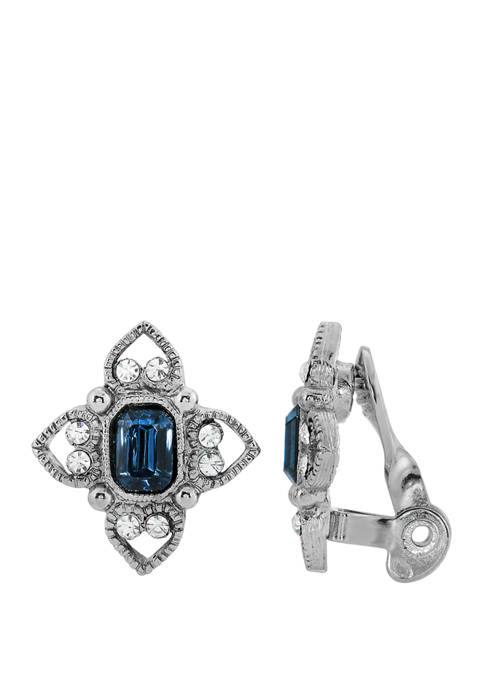 1928 Jewelry Silver Tone Blue Rectangle Crystal Floral