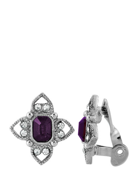 1928 Jewelry Silver Tone Purple Rectangle Crystal Floral