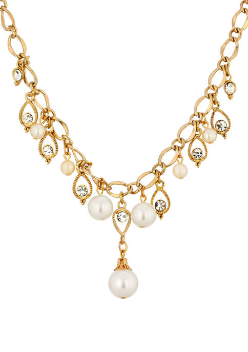 1928 Jewelry 16 Inch Adjustable Gold Tone Crystal
