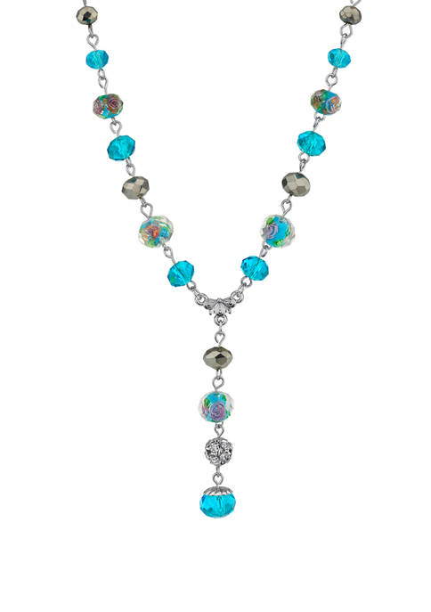 1928 Jewelry 16 Inch Adjustable Silver Tone Aqua