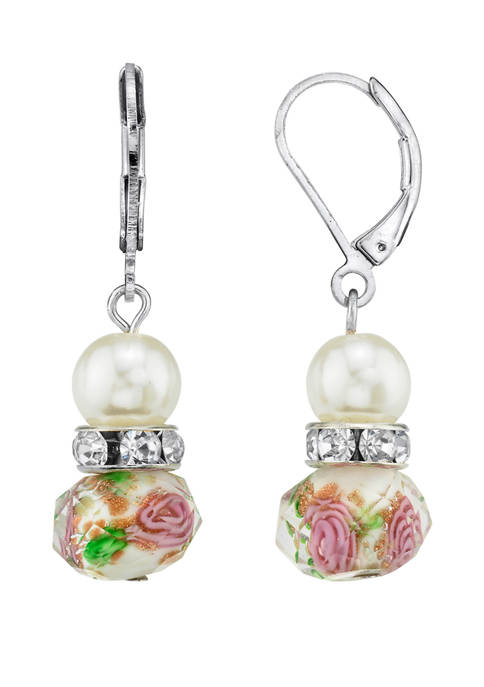 1928 Jewelry Silver Tone Faux Pearl Pink and