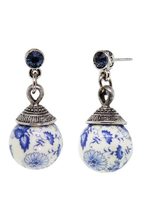 1928 Jewelry Silver Tone Blue Flower Bead Drop