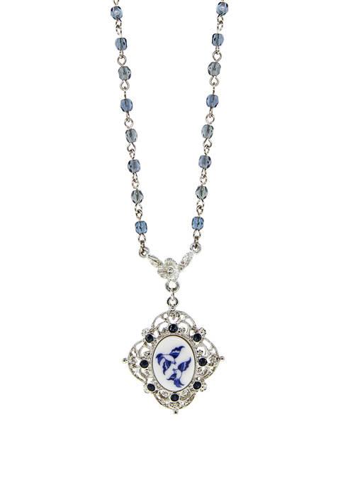 1928 Jewelry Silver Tone Blue Flower Oval Pendant