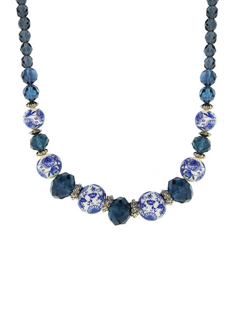1928 Jewelry Silver Tone Blue Flower Bead Necklace