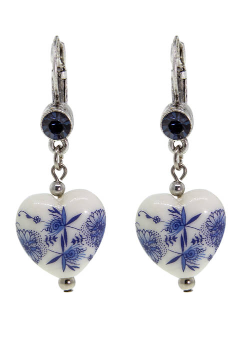 1928 Jewelry Silver Tone Blue Flower Heart Drop