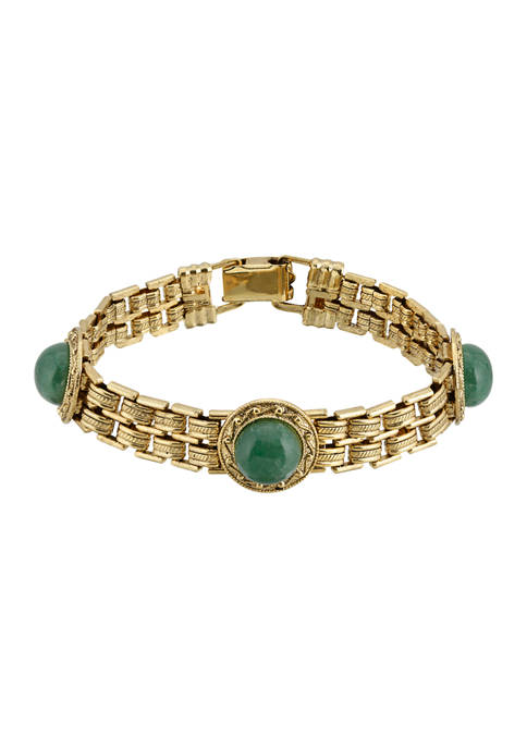1928 Jewelry Gold Tone Round Green Adventurine Link