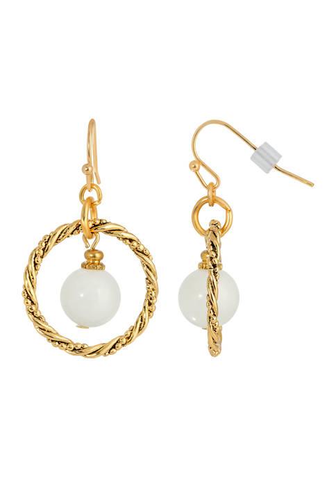 1928 Jewelry Gold-Tone White Howlite Hoop Earring