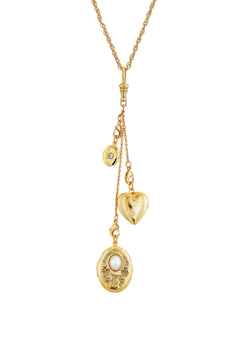 1928 Jewelry Gold Tone Multi Charm Heart Locket