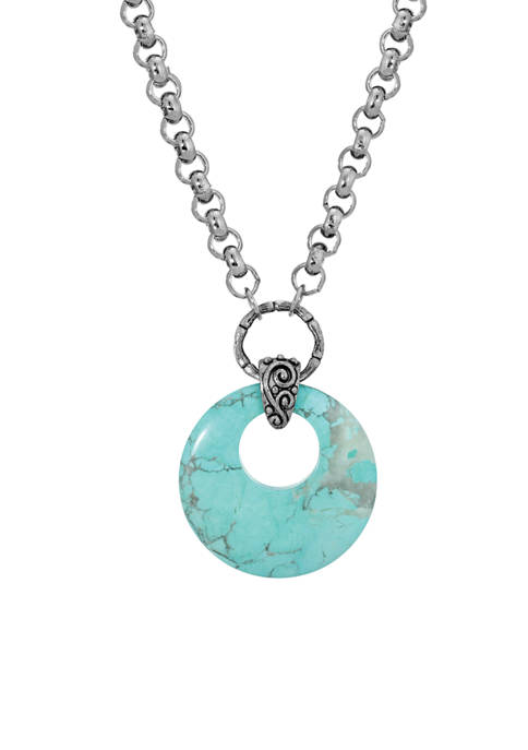 18 Inch Silver Tone Turquoise Round Genuine Stone Hoop Necklace