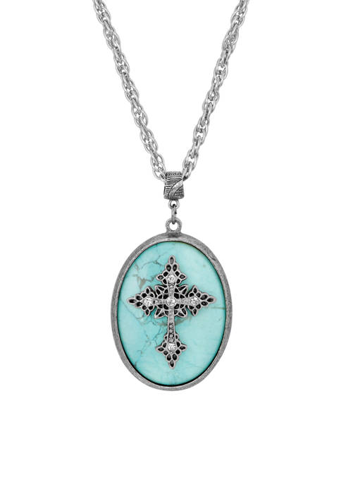 1928 Jewelry Silver Tone Turquoise Oval Crystal Cross