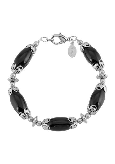 1928 Jewelry Silver Tone Black Onyx Genuine Stone