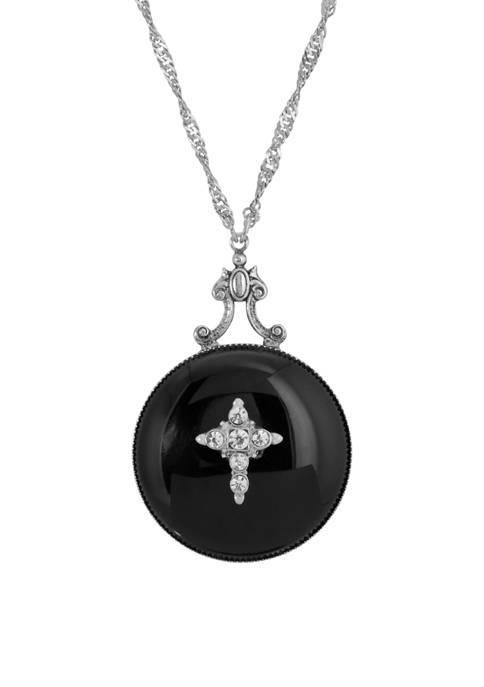 1928 Jewelry Silver Tone Black Onyx Round Genuine