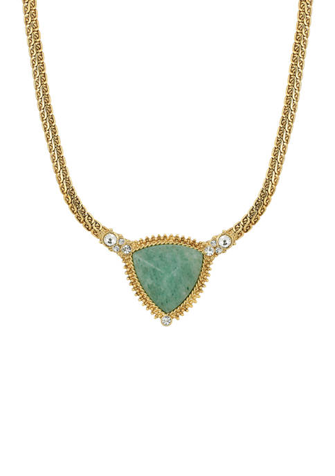 1928 Jewelry Gold Tone Green Aventurine Triangle Stone