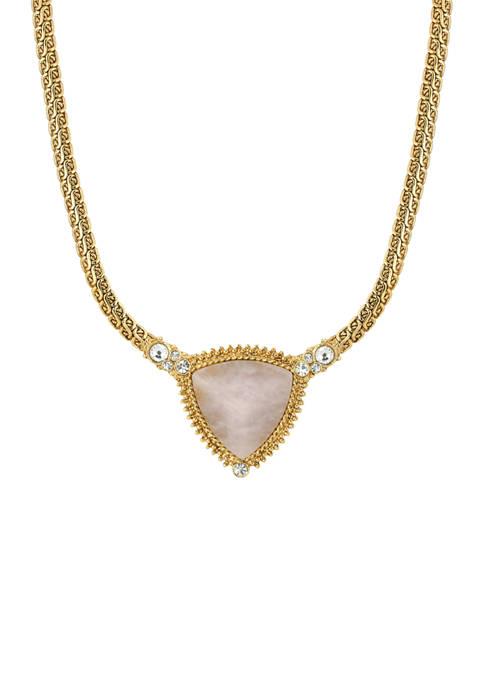 1928 Jewelry Gold Tone Rose Quartz Triangle Stone