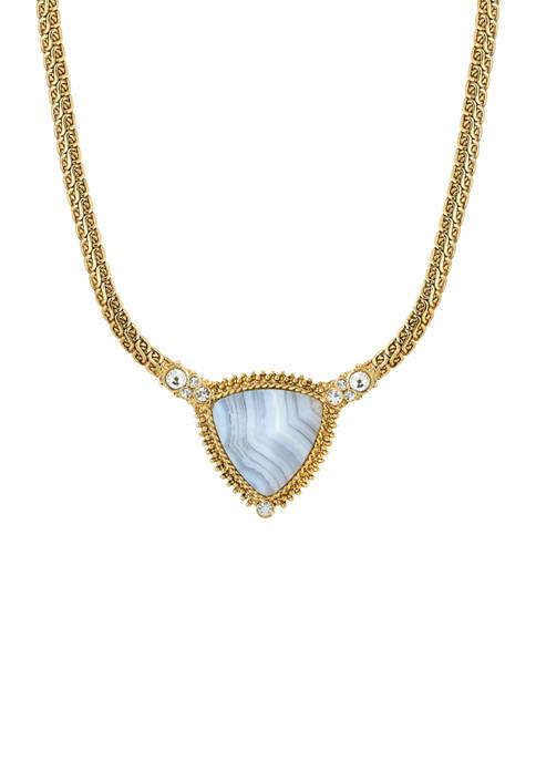 1928 Jewelry Gold Tone Blue Lapis Triangle Stone