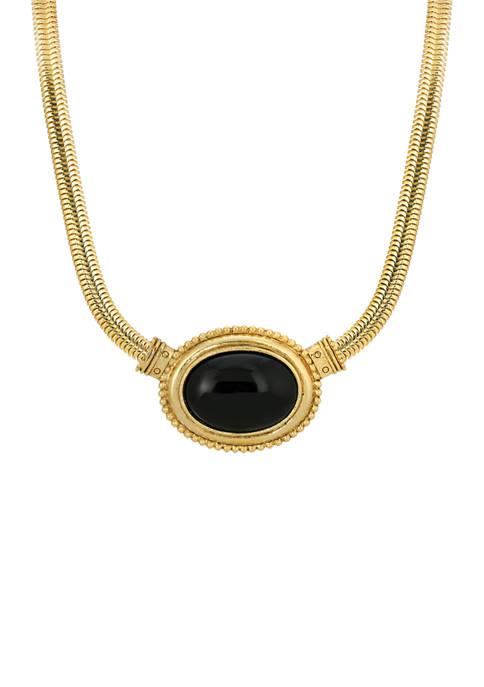 Gold Tone Black Onyx Oval Necklace