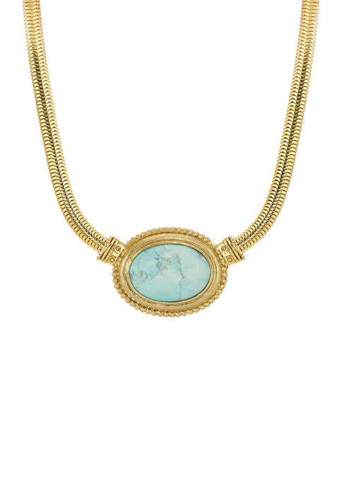Gold Turquoise Oval Stone Necklace
