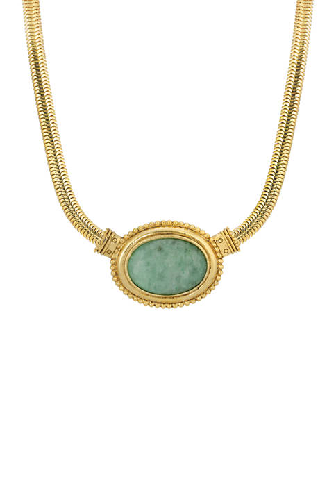 1928 Jewelry Gold Tone Green Aventurine Oval Stone