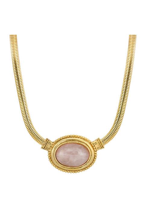 1928 Jewelry Gold Tone Rose Quartz Oval Stone
